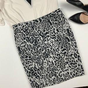 NWOT Black White Leopard Animal Print Pencil Skirt
